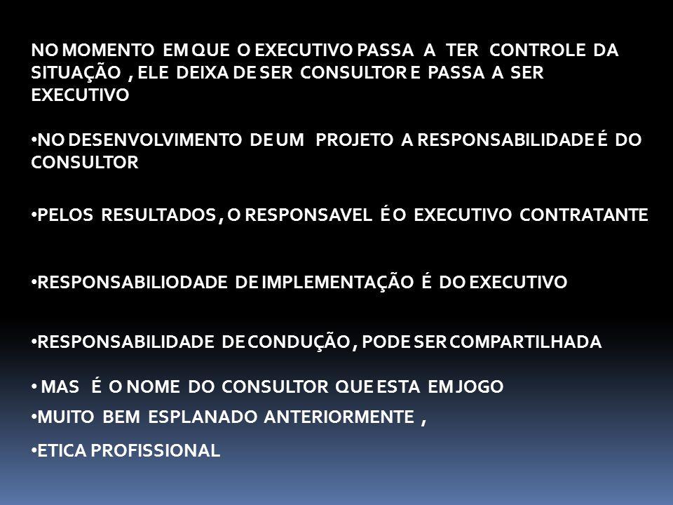 Desenvolvimento de novos produtos e serviços de consultoria que resolvam os problemas emergentes das empresas clientes Forte relacionamento com os executivos Propostas de trabalho com a identificação do valor agregado ao cliente.