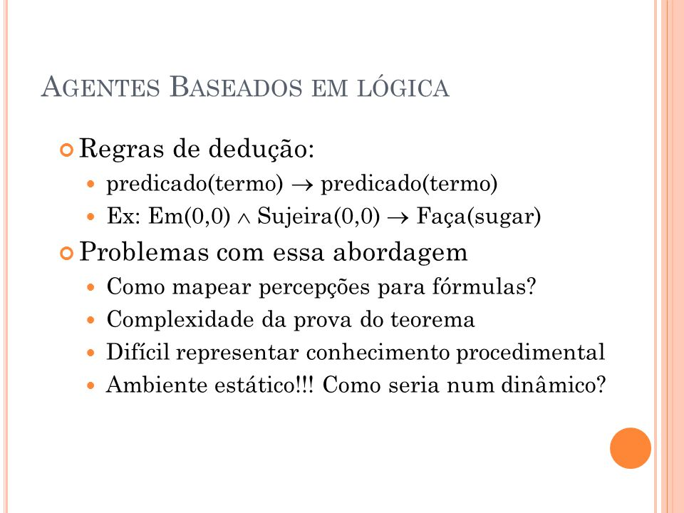 A LGORITMO B ÁSICO Função ação_agente-BL (BC):ação Para cada a  A faça se BC  faça(a) então retorne a para cada a  A faça se BC  ¬faça(a) então