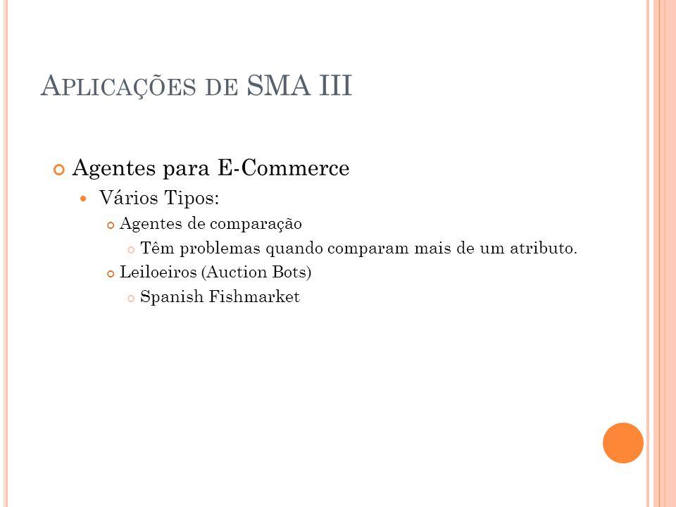 A PLICAÇÕES DE SMA II Sensoriamento Distribuído O DVMT, de Victor Lesser (1980) Recuperação e Gerenciamento de Informação Agentes Pessoais de informaç