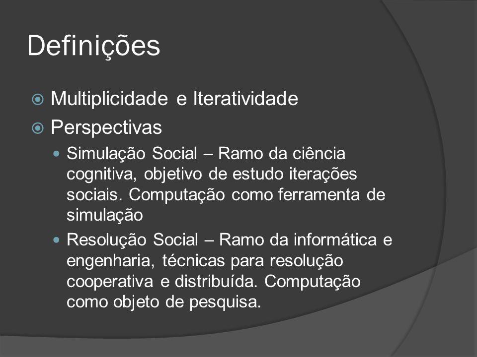 Definições  Multiplicidade e Iteratividade  Perspectivas Simulação Social – Ramo da ciência cognitiva, objetivo de estudo iterações sociais. Computa
