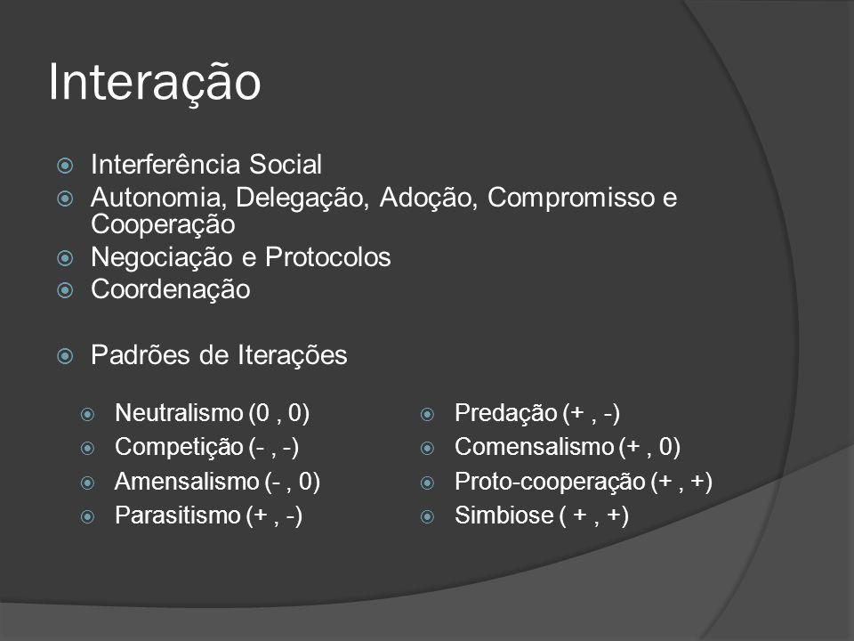 Interação  Interferência Social  Autonomia, Delegação, Adoção, Compromisso e Cooperação  Negociação e Protocolos  Coordenação  Padrões de Iteraçõ