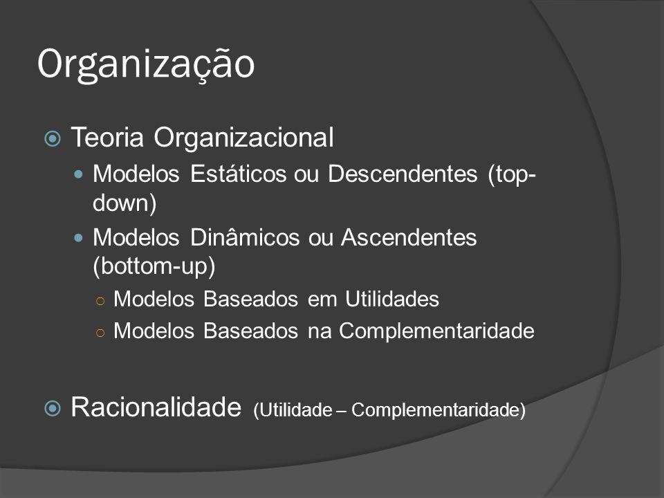 Organização  Teoria Organizacional Modelos Estáticos ou Descendentes (top- down) Modelos Dinâmicos ou Ascendentes (bottom-up) ○ Modelos Baseados em U