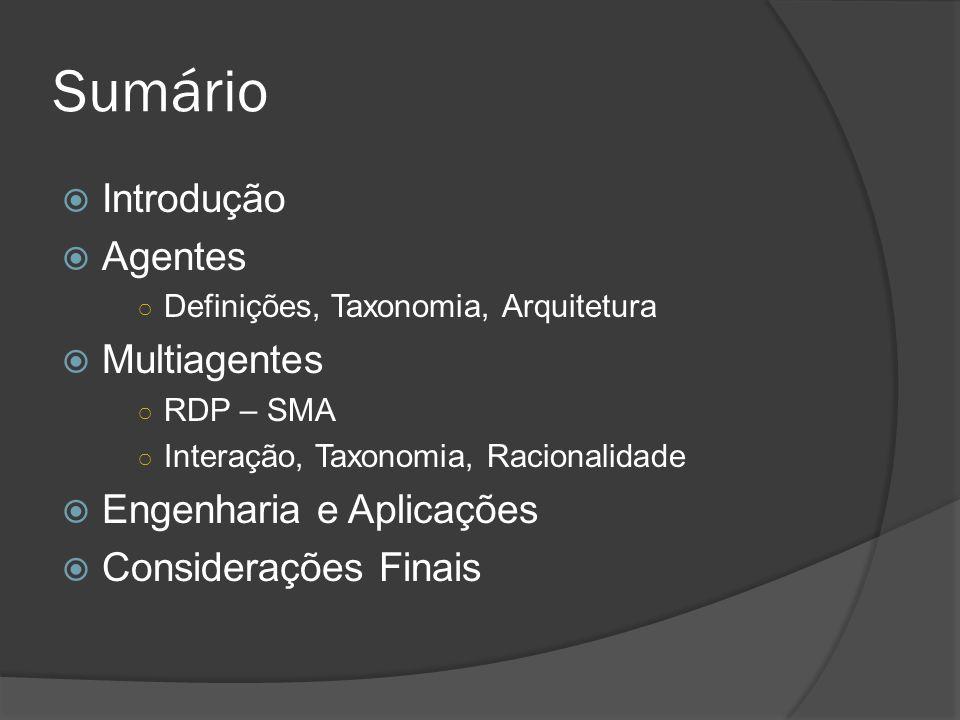 Sumário  Introdução  Agentes ○ Definições, Taxonomia, Arquitetura  Multiagentes ○ RDP – SMA ○ Interação, Taxonomia, Racionalidade  Engenharia e Ap