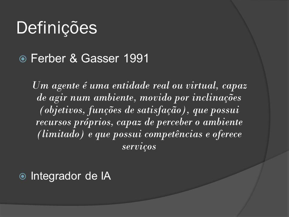Definições  Ferber & Gasser 1991 Um agente é uma entidade real ou virtual, capaz de agir num ambiente, movido por inclinações (objetivos, funções de
