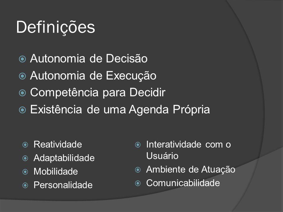 Definições  Autonomia de Decisão  Autonomia de Execução  Competência para Decidir  Existência de uma Agenda Própria  Reatividade  Adaptabilidade