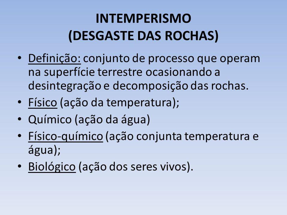INTEMPERISMO (DESGASTE DAS ROCHAS) Definição: conjunto de processo que operam na superfície terrestre ocasionando a desintegração e decomposição das rochas.