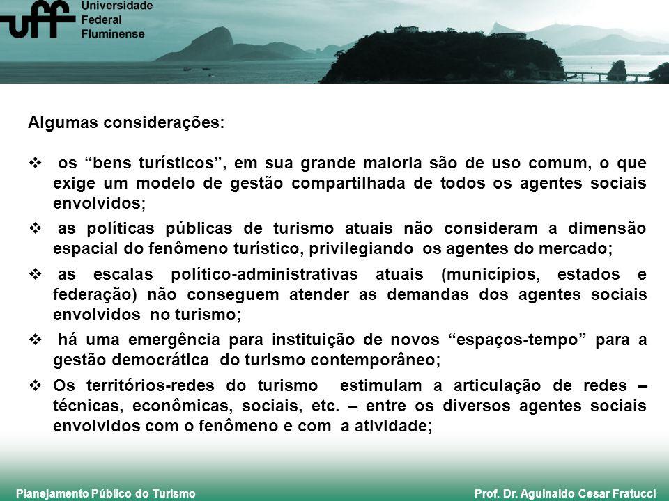 """Planejamento Público do Turismo Prof. Dr. Aguinaldo Cesar Fratucci Algumas considerações:  os """"bens turísticos"""", em sua grande maioria são de uso com"""