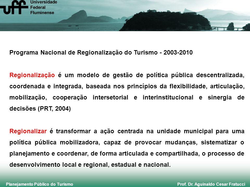 Planejamento Público do Turismo Prof. Dr. Aguinaldo Cesar Fratucci Programa Nacional de Regionalização do Turismo - 2003-2010 Regionalização é um mode
