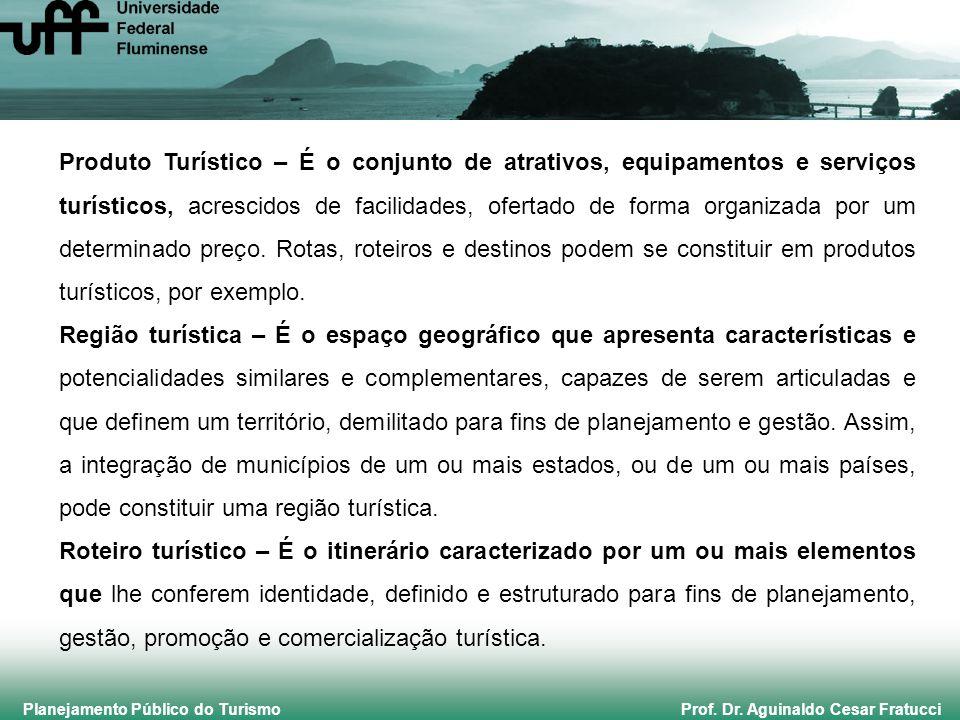Planejamento Público do Turismo Prof. Dr. Aguinaldo Cesar Fratucci Produto Turístico – É o conjunto de atrativos, equipamentos e serviços turísticos,