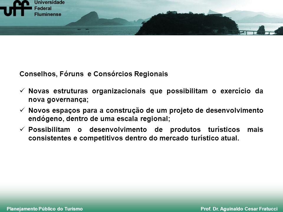 Planejamento Público do Turismo Prof. Dr. Aguinaldo Cesar Fratucci Conselhos, Fóruns e Consórcios Regionais Novas estruturas organizacionais que possi