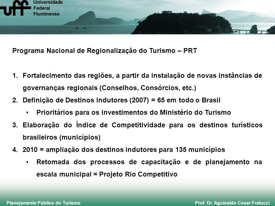 Planejamento Público do Turismo Prof. Dr. Aguinaldo Cesar Fratucci Programa Nacional de Regionalização do Turismo – PRT 1.Fortalecimento das regiões,