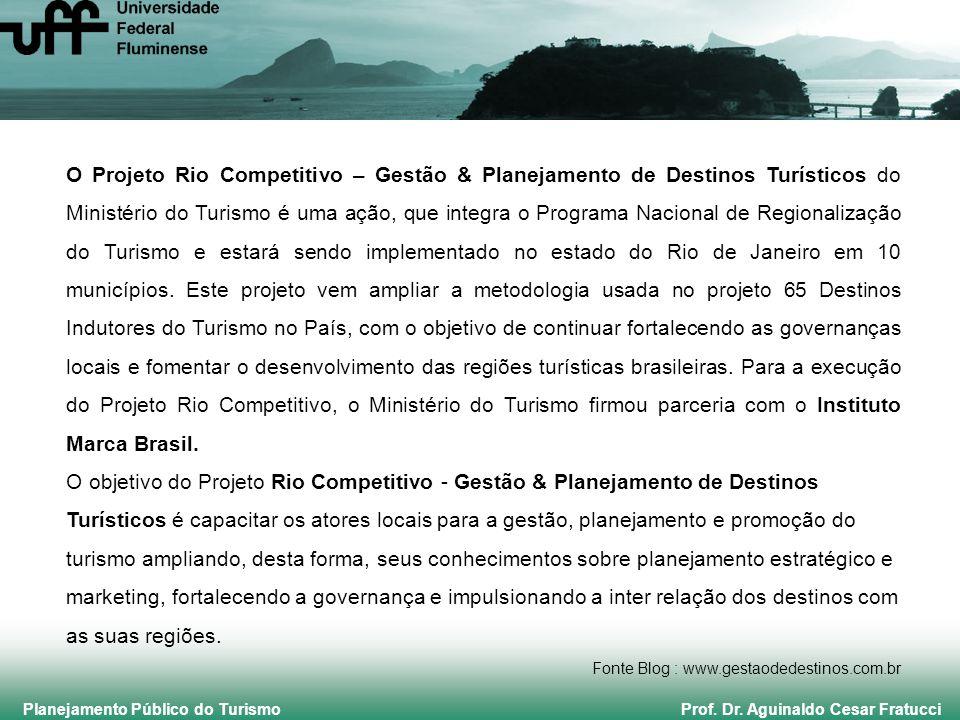 Planejamento Público do Turismo Prof. Dr. Aguinaldo Cesar Fratucci O Projeto Rio Competitivo – Gestão & Planejamento de Destinos Turísticos do Ministé