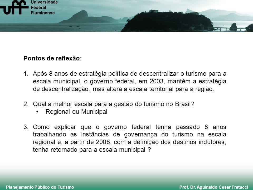 Planejamento Público do Turismo Prof. Dr. Aguinaldo Cesar Fratucci Pontos de reflexão: 1.Após 8 anos de estratégia política de descentralizar o turism
