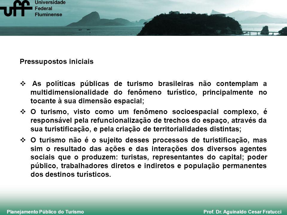 Planejamento Público do Turismo Prof. Dr. Aguinaldo Cesar Fratucci Pressupostos iniciais  As políticas públicas de turismo brasileiras não contemplam