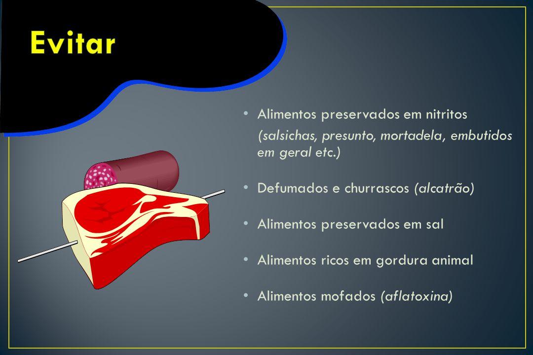 Alimentos preservados em nitritos (salsichas, presunto, mortadela, embutidos em geral etc.) Defumados e churrascos (alcatrão) Alimentos preservados em