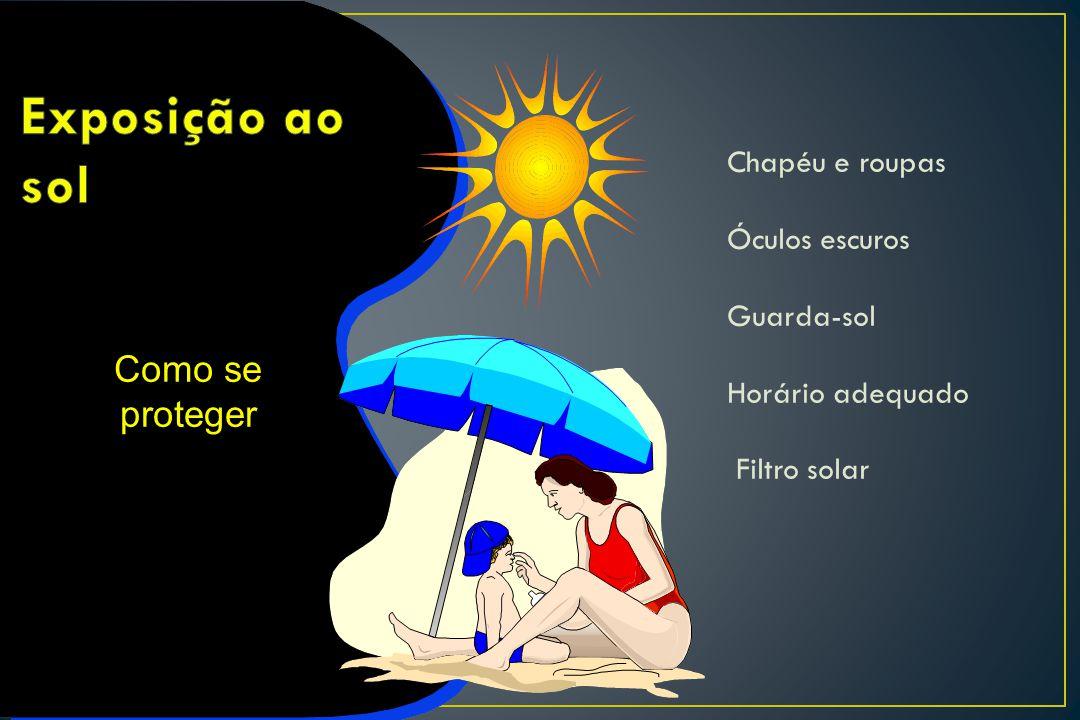 Chapéu e roupas Óculos escuros Guarda-sol Horário adequado Filtro solar Como se proteger