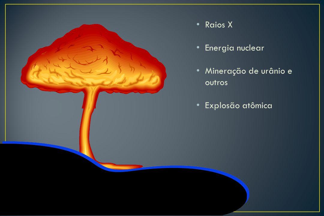 Raios X Energia nuclear Mineração de urânio e outros Explosão atômica