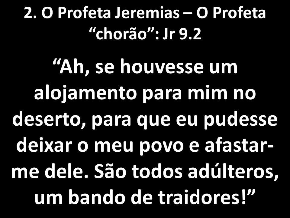 """2. O Profeta Jeremias – O Profeta """"chorão"""": Jr 9.2 """"Ah, se houvesse um alojamento para mim no deserto, para que eu pudesse deixar o meu povo e afastar"""