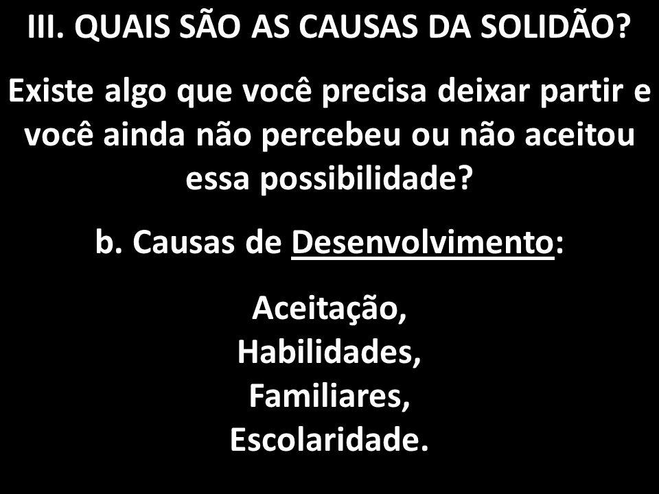III.QUAIS SÃO AS CAUSAS DA SOLIDÃO.