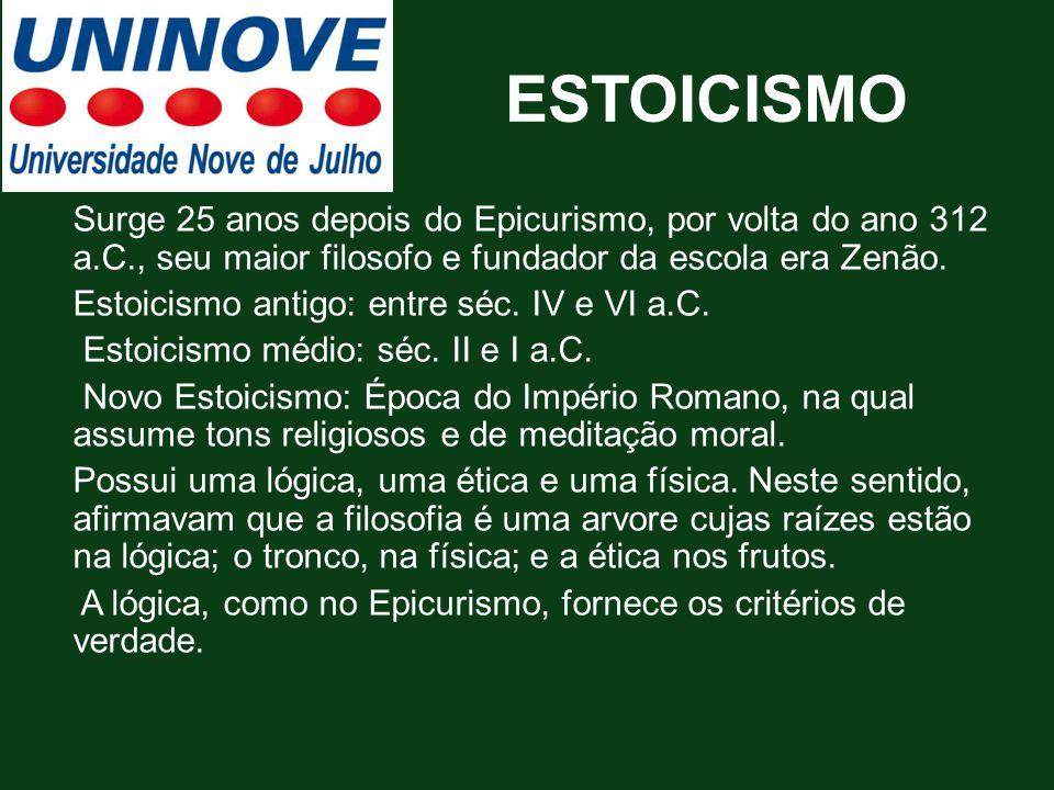 ESTOICISMO Surge 25 anos depois do Epicurismo, por volta do ano 312 a.C., seu maior filosofo e fundador da escola era Zenão. Estoicismo antigo: entre