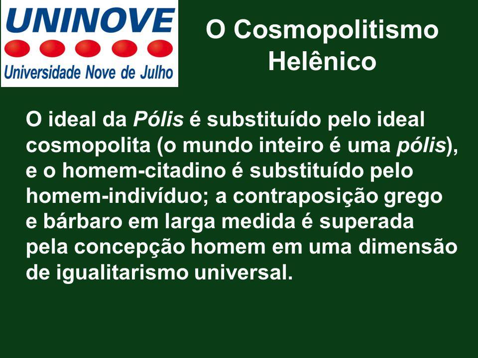 O Cosmopolitismo Helênico O ideal da Pólis é substituído pelo ideal cosmopolita (o mundo inteiro é uma pólis), e o homem-citadino é substituído pelo h