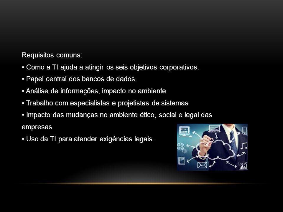 Requisitos comuns: Como a TI ajuda a atingir os seis objetivos corporativos. Papel central dos bancos de dados. Análise de informações, impacto no amb