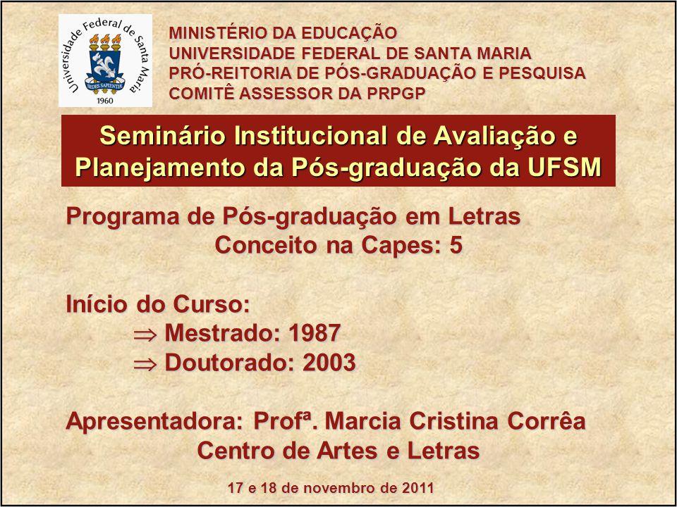 17 e 18 de novembro de 2011 Seminário Institucional de Avaliação e Planejamento da Pós-graduação da UFSM Programa de Pós-graduação em Letras Conceito na Capes: 5 Início do Curso:  Mestrado: 1987  Doutorado: 2003 Apresentadora: Profª.