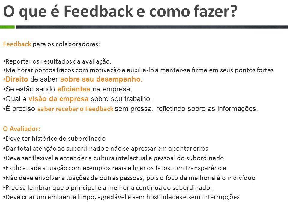 Feedback para os colaboradores: Reportar os resultados da avaliação.