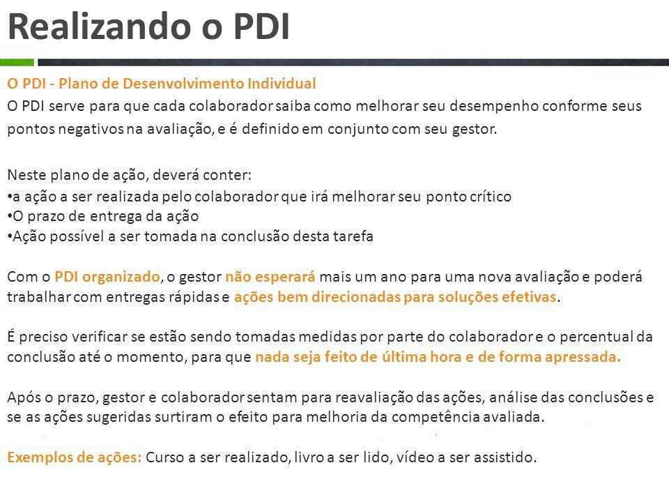 O PDI - Plano de Desenvolvimento Individual O PDI serve para que cada colaborador saiba como melhorar seu desempenho conforme seus pontos negativos na avaliação, e é definido em conjunto com seu gestor.
