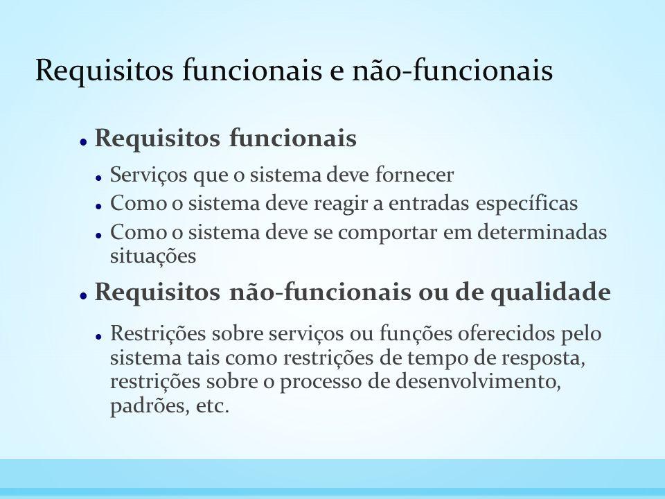 Requisitos funcionais e não-funcionais Requisitos funcionais Serviços que o sistema deve fornecer Como o sistema deve reagir a entradas específicas Co
