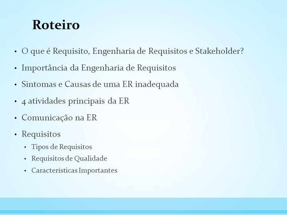 Roteiro O que é Requisito, Engenharia de Requisitos e Stakeholder? Importância da Engenharia de Requisitos Sintomas e Causas de uma ER inadequada 4 at
