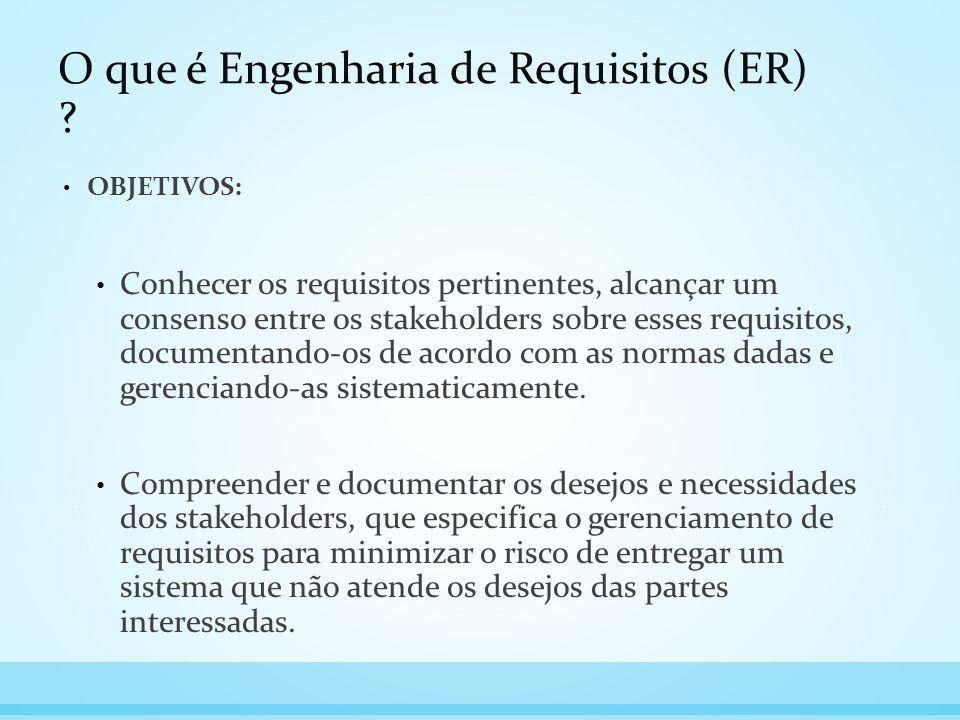 O que é Engenharia de Requisitos (ER) ? OBJETIVOS: Conhecer os requisitos pertinentes, alcançar um consenso entre os stakeholders sobre esses requisit