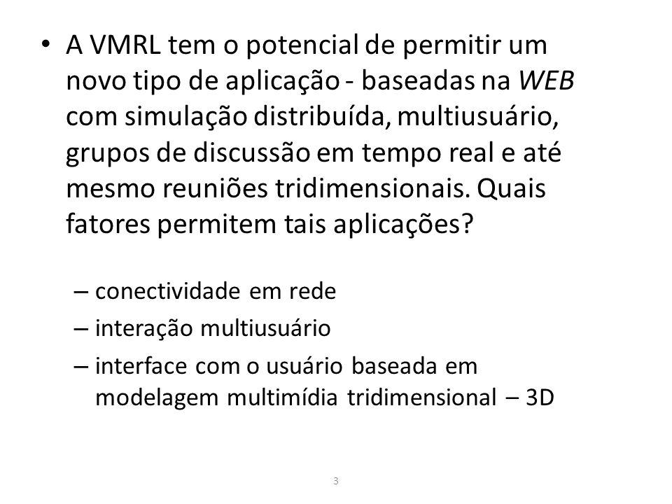 Cite pelo menos 4 ferramentas de criação de Ambientes Virtuais VRML, JAVA3D e X3D AVRIL Virtual Reality Studio e Cyberspace Development Kit VREAM Walkthrough e EON Studio WordToolkit World Up MicroM Alice 3D WebMaster VR Juggler TrueSpace Blender 13