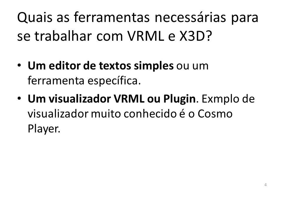 Quais as ferramentas necessárias para se trabalhar com VRML e X3D.