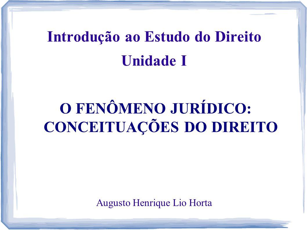 Introdução ao Estudo do Direito Unidade I O FENÔMENO JURÍDICO: CONCEITUAÇÕES DO DIREITO Augusto Henrique Lio Horta