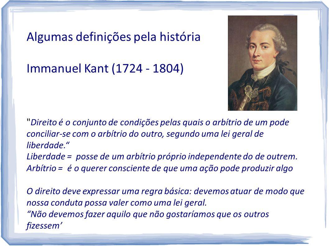 Algumas definições pela história Immanuel Kant (1724 - 1804)