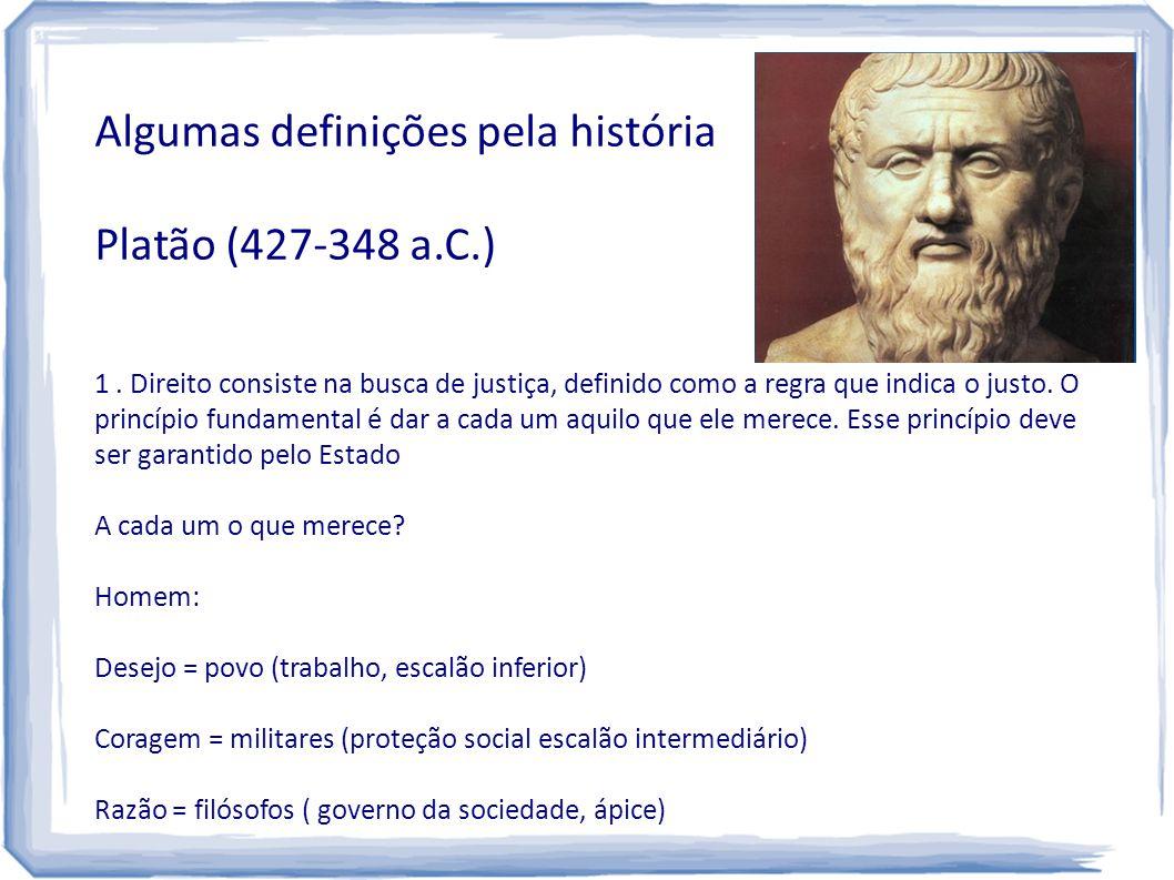 Algumas definições pela história Platão (427-348 a.C.) 1. Direito consiste na busca de justiça, definido como a regra que indica o justo. O princípio