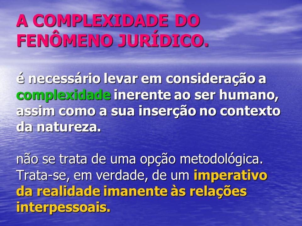 A COMPLEXIDADE DO FENÔMENO JURÍDICO.