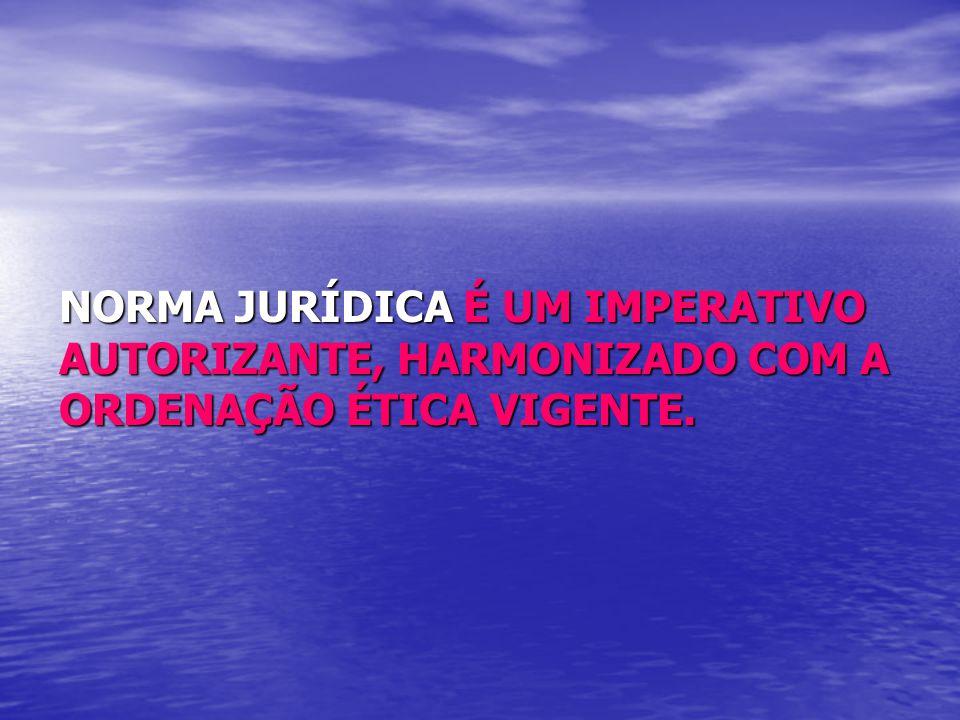 NORMA JURÍDICA É UM IMPERATIVO AUTORIZANTE, HARMONIZADO COM A ORDENAÇÃO ÉTICA VIGENTE.