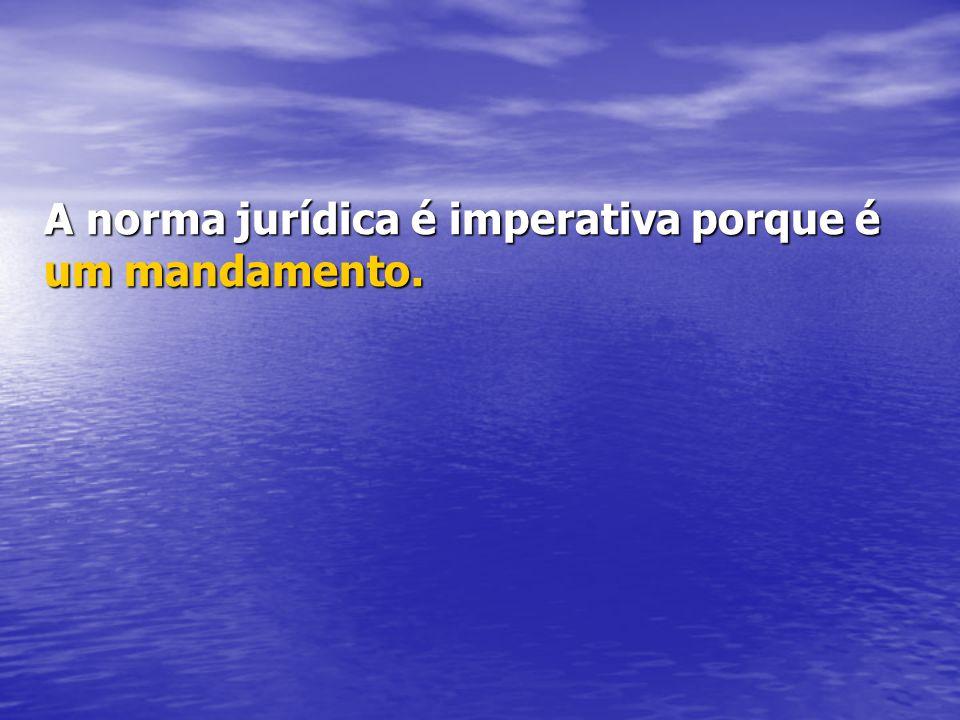 A norma jurídica é imperativa porque é um mandamento.