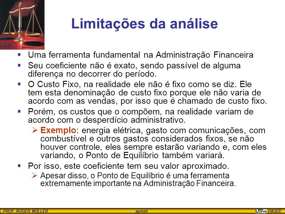 PROF. ROGER MÜLLER apres6 DAGEE Limitações da análise  Uma ferramenta fundamental na Administração Financeira  Seu coeficiente não é exato, sendo pa