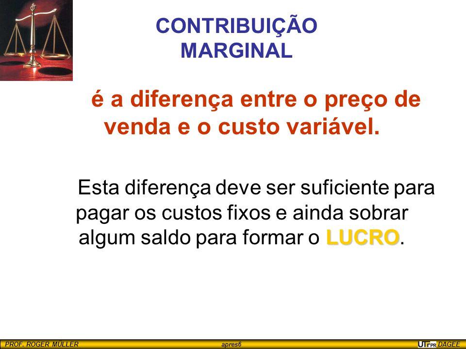 PROF. ROGER MÜLLER apres6 DAGEE CONTRIBUIÇÃO MARGINAL é a diferença entre o preço de venda e o custo variável. LUCRO Esta diferença deve ser suficient