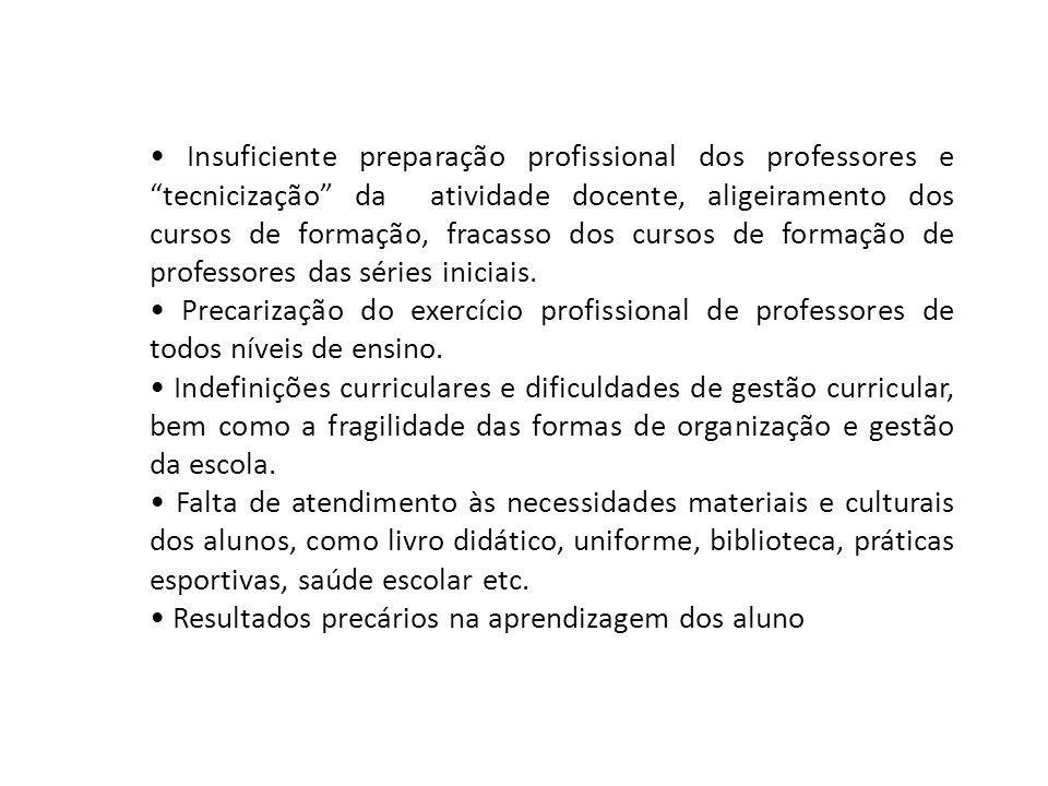 """Insuficiente preparação profissional dos professores e """"tecnicização"""" da atividade docente, aligeiramento dos cursos de formação, fracasso dos cursos"""