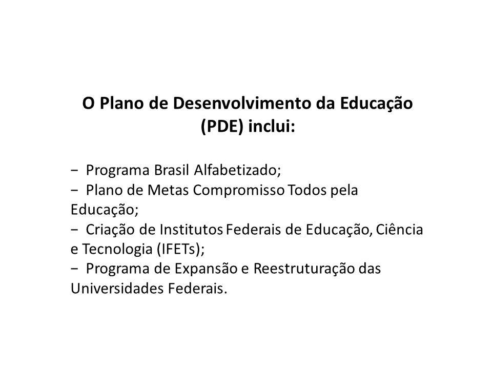 O Plano de Desenvolvimento da Educação (PDE) inclui: − Programa Brasil Alfabetizado; − Plano de Metas Compromisso Todos pela Educação; − Criação de In