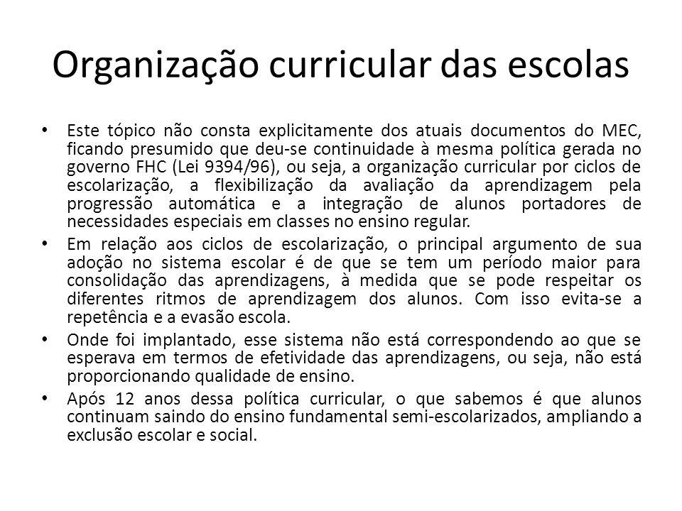Organização curricular das escolas Este tópico não consta explicitamente dos atuais documentos do MEC, ficando presumido que deu-se continuidade à mes
