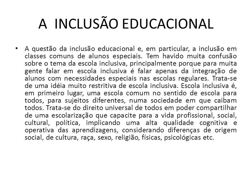 A INCLUSÃO EDUCACIONAL A questão da inclusão educacional e, em particular, a inclusão em classes comuns de alunos especiais. Tem havido muita confusão