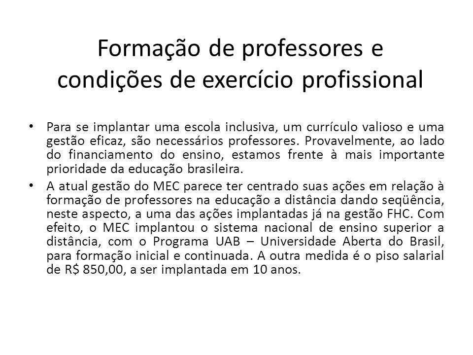 Formação de professores e condições de exercício profissional Para se implantar uma escola inclusiva, um currículo valioso e uma gestão eficaz, são ne