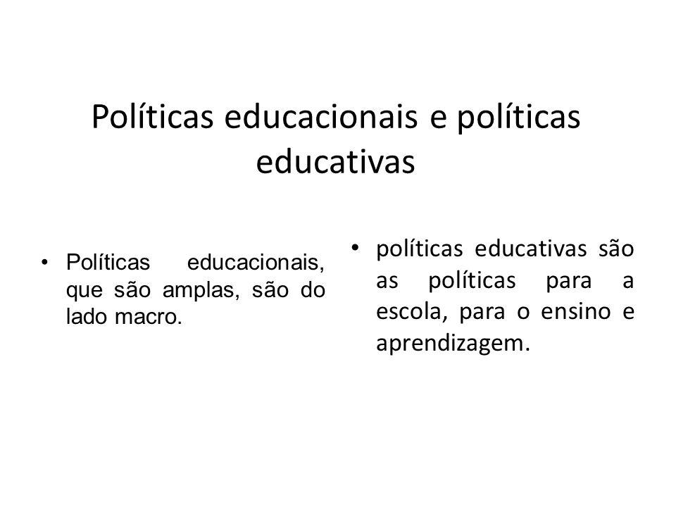 Políticas educacionais e políticas educativas Políticas educacionais, que são amplas, são do lado macro. políticas educativas são as políticas para a