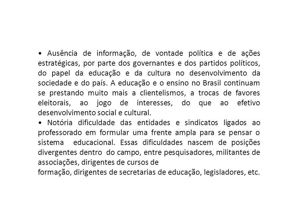Ausência de informação, de vontade política e de ações estratégicas, por parte dos governantes e dos partidos políticos, do papel da educação e da cul