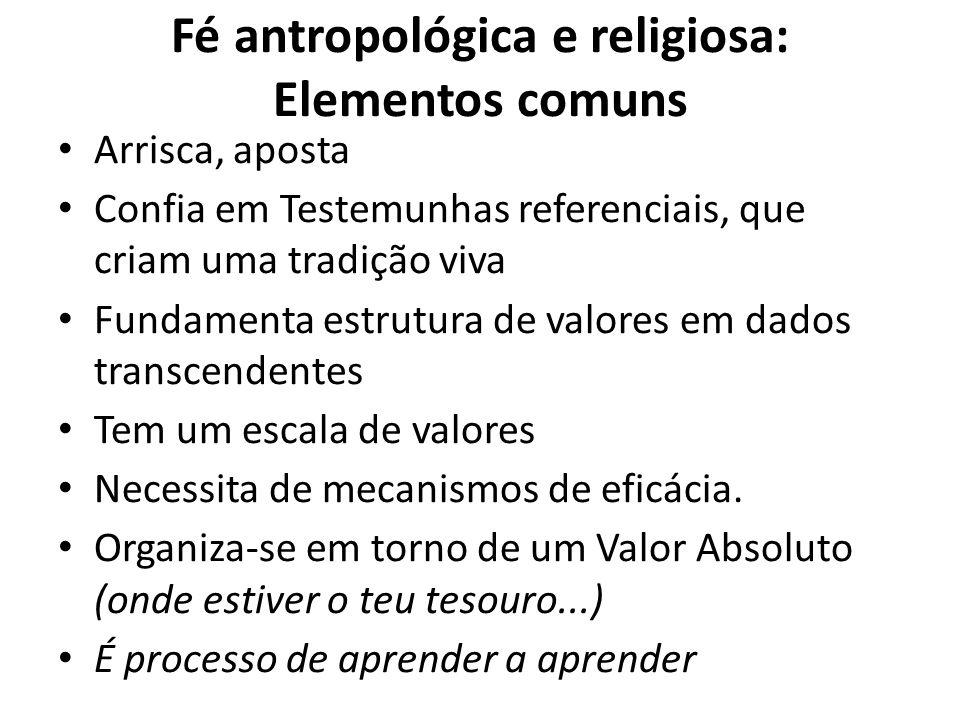 Fé antropológica e religiosa: Elementos comuns Arrisca, aposta Confia em Testemunhas referenciais, que criam uma tradição viva Fundamenta estrutura de